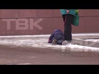 В Красноярске очевидцы сняли, как бабушка выгуливала внука на поводке-вожжах