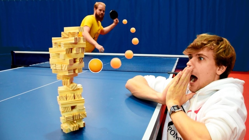 Jenga Battles w Ping Pong Shots