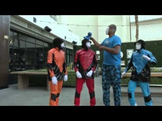 Metta World Peace dances with the Jabbawockeez and Cookie Monster