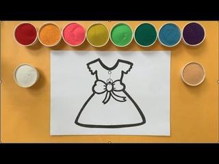 Tô màu váy búp bê đơn giản bằng tranh cát   DIY Sand Art Color Painting Doll Dress (Ivy Channel)