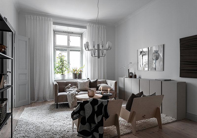 Нежный интерьер для девушки в Стокгольме (56 кв.