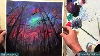 Ночное звездное небо - картина акрилом на холсте. Speed Painting. Time Lapse Art