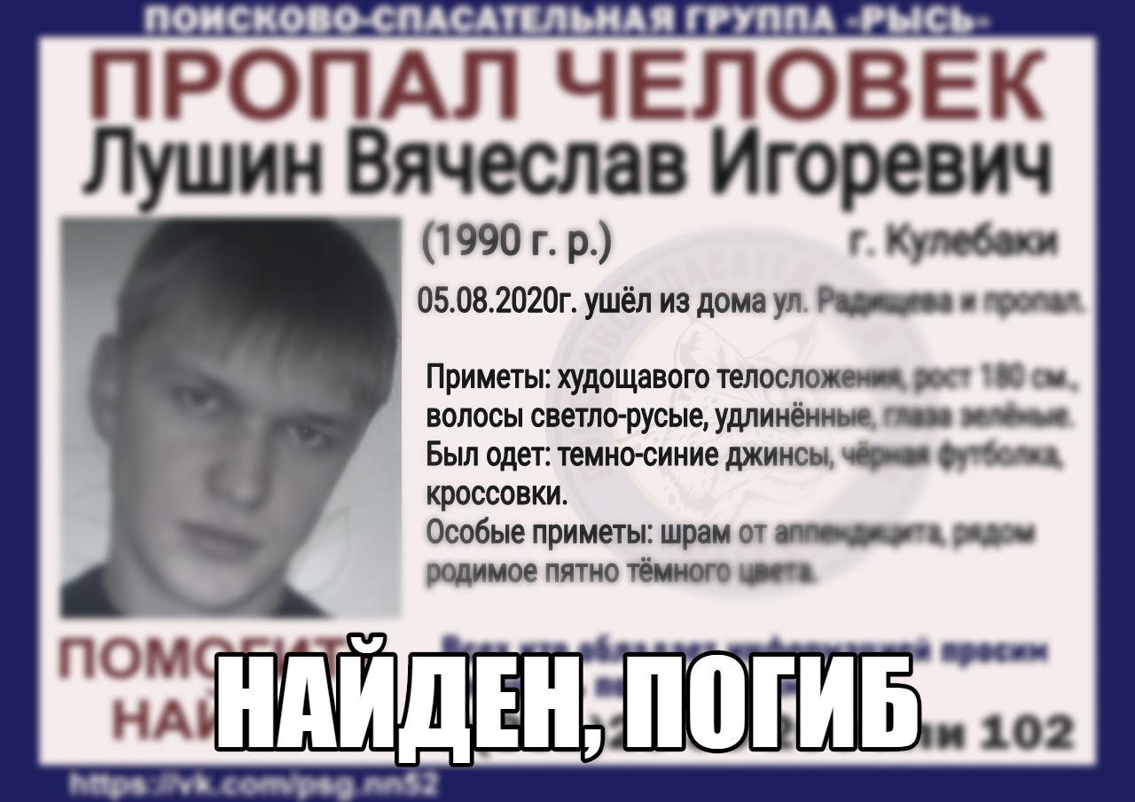 Лушин Вячеслав Игоревич, 1990 г.р., г. Кулебаки