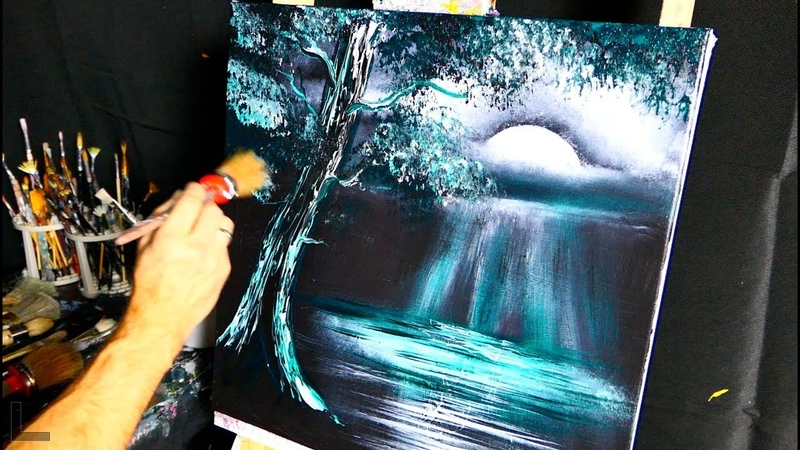Green Moonlight - abstract painting - simple - step by step 2 colors art demo - by Dranitsin
