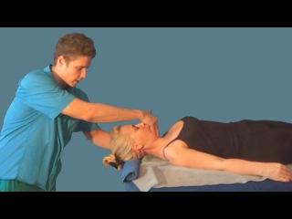 Разминание в лечебном массаже шейного отдела, лёжа на спине. Растирание, вибрация и самомассаж шеи
