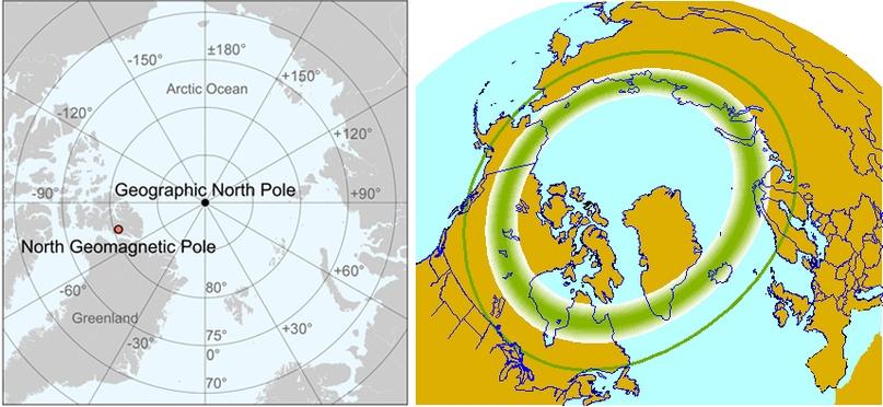 Расположение географического и геомагнитного северных полюсов (слева), авроральный овал в северном полушарии при Kp-индексе равном двум (справа)