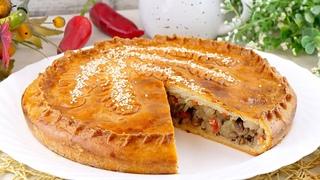 🥧Бездрожжевой пирог с мясом и картошкой на сметанном тесте! Рецепт теста без дрожжей на сметане!