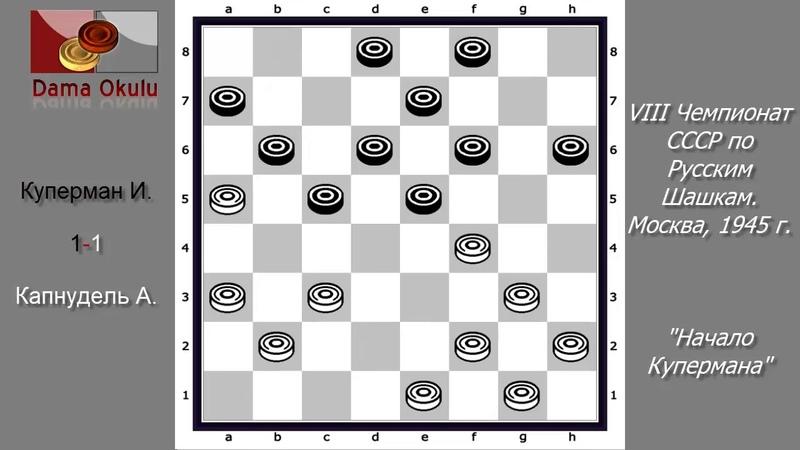 Капнудель А Куперман И VIII чемпионат СССР по Русским шашкам Москва 1945 г