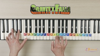 Гравити Фолз на пианино с аккордами. Как играть. How to play Gravity Falls. EASY. SNOW.