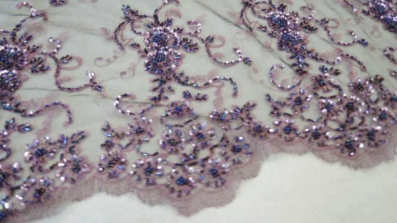 Самая лучшая ткань для пошива нарядного платья кружево расшитое стеклярусом бисером и пайетками