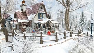 Winter Cottage - 1 Hour Christmas Snowfall Screensaver 4K
