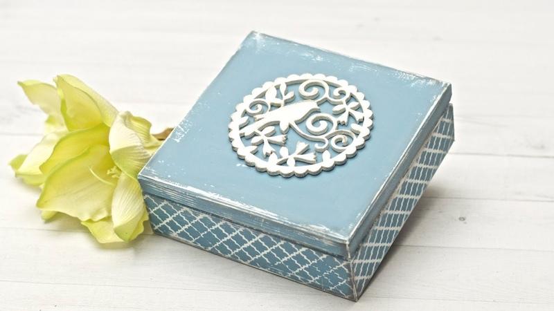 Pudełko z ptaszkiem - farby kredowe - DIY tutoria