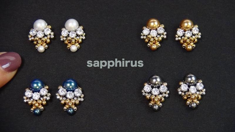 ビーズステッチ キュービックチャトンとスワロフスキーパールのピアス☆作り方 How to make Small Stud Earrings Swarovski Pearls