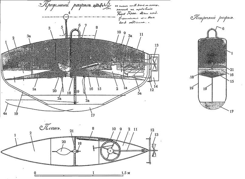 Схематический чертеж подводной лодки О.Б. Герна