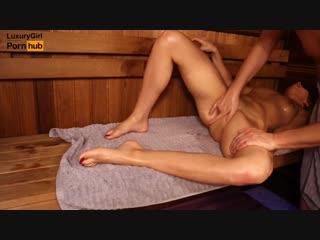 Oil massage in sauna, young girl twice got orgasm  massage2018