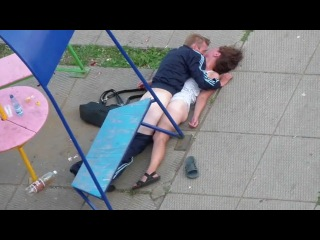 Real drunk couple having sex in public park !