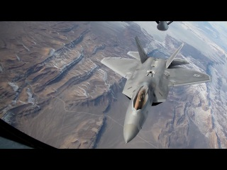 F-22 Raptors Conducts The Air Refueling Mission