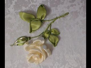Вышивка лентами розы стебель, листья, бутон Embroidery ribbons rose stem, leaf, Bud Alsu Galimova