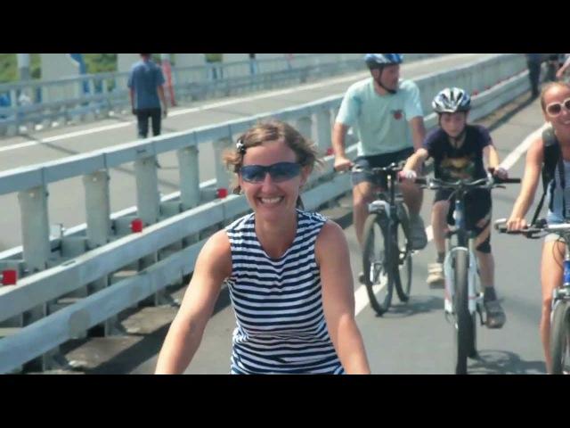 Велопробег по мосту на о Русский 28 07 2012