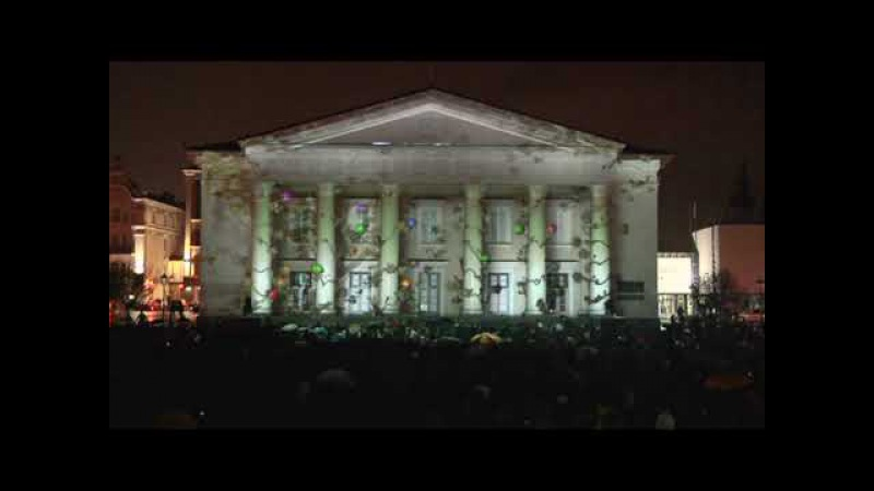 3D Projection on Vilnius Town Hall Rotuses aikste Lithuania 2009