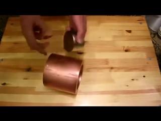 Бросание магнита в медь.
