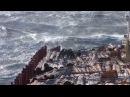 Cargo ship in storm at kuril islands