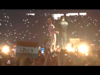 Harry dancing with a blow-up doll