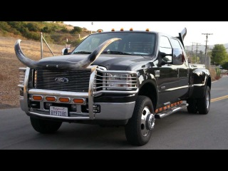 Redneck Pickup Stacks & Bull Horns Pipes Diesel Ford F-350 Powerstroke Diesel