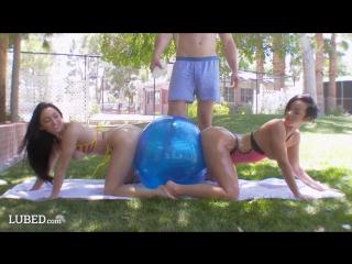 Jada stevens and crystal rae oiled in the gym