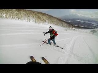 Screaming skier at mt. niseko in japan