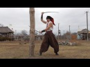 Cossack sabers, practice on a wooden pole.