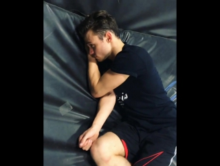 When Thomas, once again, doesnt get enough sleep and decides to nap on the stunt pads at rehearsal #Descendants2 @thomasadoherty