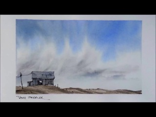 Create a sense of space and atmosphere. Line and wash watercolor demonstration. Peter Sheeler