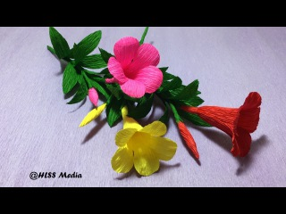 How To Make an origami Allamanda  paper flower-DIY crepe paper tutorials -making flower step by step