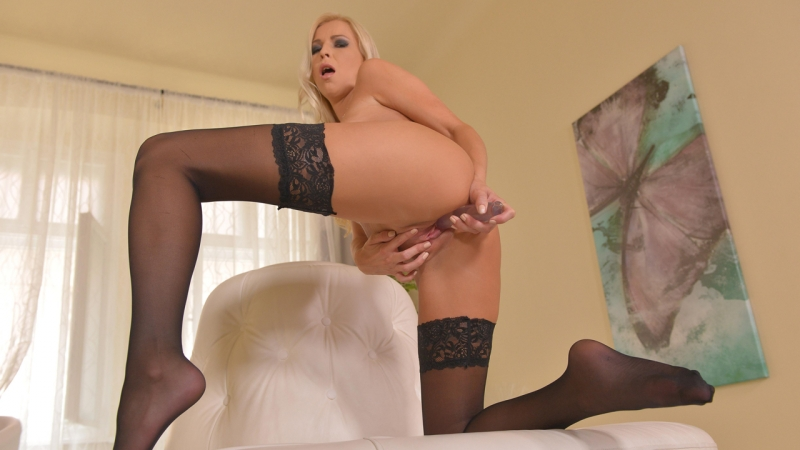 Karol Lilien HD 720, Blonde, Solo, Foot Fetish, Feet, Stockings, High Heels, Natural Tits, Ass, Masturbation,