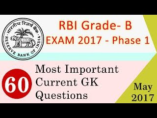 May 2017 Current Affairs GK Quiz Questions and Answers for RBI Grade B Officer Phase-I Prelims Exam