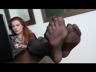 Goddess victoria foot worship sexy feet neylon under table #fetish #mistress #femdom