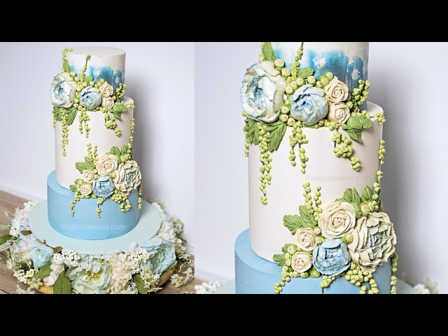 Blue Peony buttercream wedding cake tutorial - American Cake Decorating Magazine - relaxing