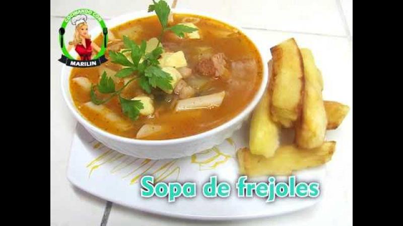 Sopa de fr joles con tocino Mi estilo Cocinando con Marilin
