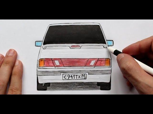 ️Как нарисовать машину Лада Самара ВАЗ 2115 Ehedov Elnur Masin resmi nece cekilir
