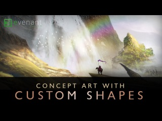 Painting A Lush Waterfall Cliff - Digital Painting Tutorial - Concept Art - Custom Shapes
