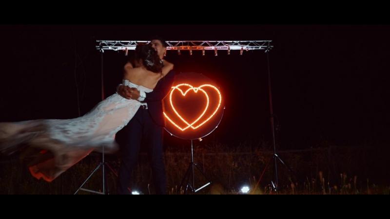 Диодное сердце с 4х лопастными вертушками из фонтанов.