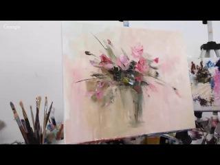Розовый букет маслом. Татьяна Зубова. Pink roses. Oil painting. Tatiana Zubova