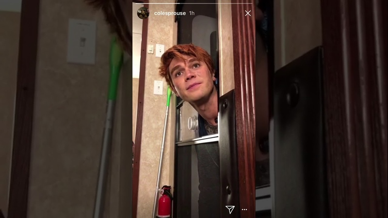 Kj Apa being fed on Cole Sprouse's instagram story