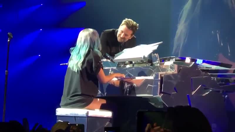 Bradley Cooper attends Enigma Show and joins Lady Gaga on stage to perform
