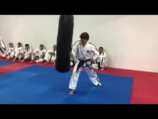 Experimenting in class during master kang's course on itf taekwon-do biomechanics.  the experiment video clearly demonstrates th