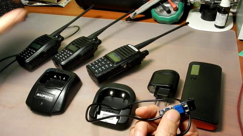 Зарядка рации Baofeng от USB-устройства.