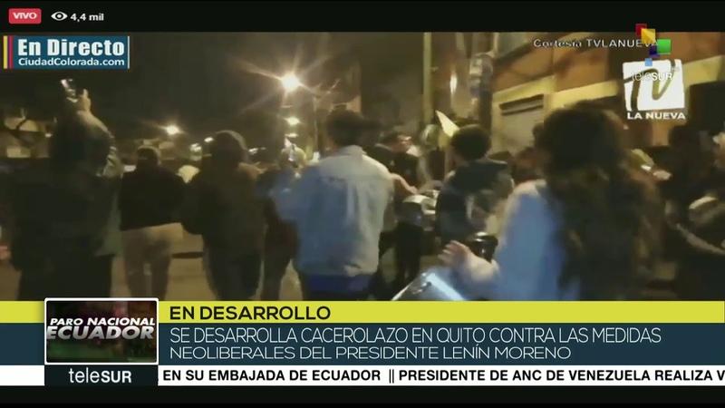 Ecuador barrios de Quito se suman al cacerolazo por la paz