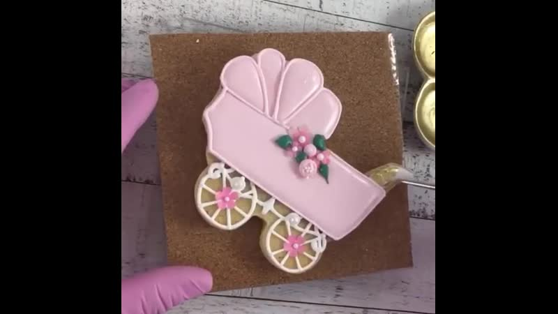 Как украсить печенье в виде Детской Коляски. / Наша группа в ВК: Торты на заказ. Мировые шедевры.