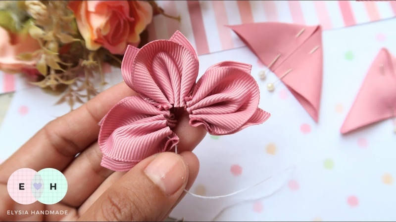Amazing Kanzashi Flower - Hand Embroidery Works - Ribbon Tricks Easy Making Tutorial 14